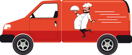 Catering van with a chef carrying a serving tray, EPS 8 vector illustration, no transparencies 向量圖像