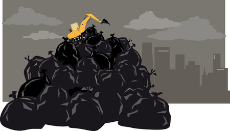 Excavator working on top of a gigantic pile of trash, city skyline on the background, EPS 8 vector illustration