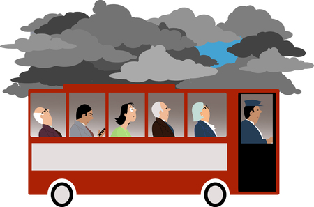 Sad woman looking at the sky from a commuter bus occupied by indifferent business people