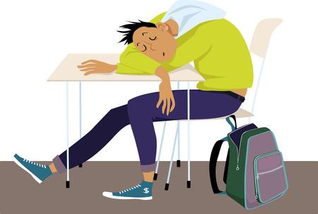Teenager sleeping at the desk at school