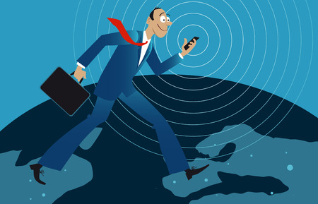 Energetic businessman walking across the globe with a cell phone in his hand, EPS 8 vector illustration