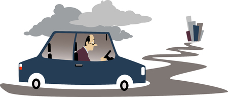 Depressed man driving to a city in his car, EPS 8 vector illustration Stock Vector - 77956327