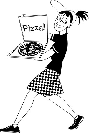 Pizza delivery girl with a pie in a box, EPS8 vector illustration, no white objects, black only Ilustrace