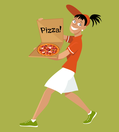 Delivery girl with a pizza in a box, EPS 8 vector illustration, no transparencies