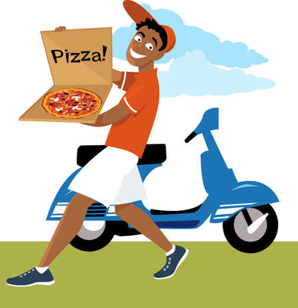 Pizza delivery guy with a pie, scooter on the background, EPS 8 vector illustration