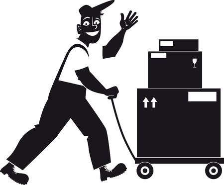 Delivery person transporting shipping boxes on a dolly, EPS 8 vector silhouette, no white objects, black only Stock Vector - 77956343