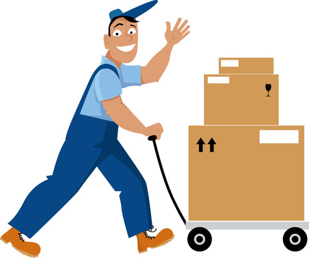 Delivery person transporting shipping boxes on a dolly, EPS 8 vector illustration Illustration
