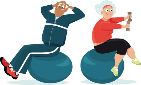 Active senior couple working out on exercise balls, EPS 8 vector illustration