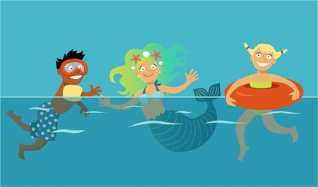 legends folklore: Boy and girl swimming with a cute cartoon mermaid, EPS 8 vector illustration, transparent layer on top Illustration