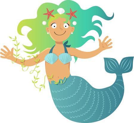Cute cartoon mermaid, EPS 8 vector illustration, no transparencies