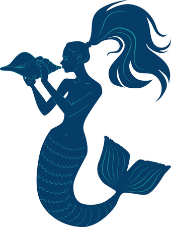 Vector silhouette of a mermaid blowing a conch shell horn, EPS 8 vector illustration