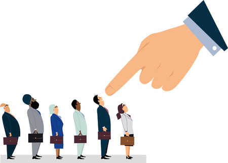 Giant managerial hand pointing at a man, standing in a line of employees, EPS 8 vector illustration 向量圖像