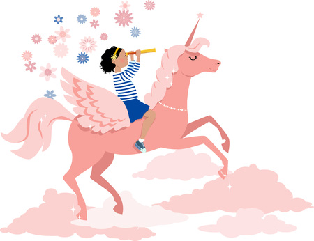 Little girl riding a unicorn and looking in a telescope, EPS 8 vector illustration Ilustrace
