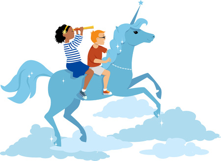 literate: Girl and boy riding a unicorn in the sky, EPS 8 vector illustration, no transparencies