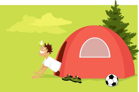 Guy wakker worden op de camping en uitkijken op tent, vlinder landing op zijn neus, EPS 8 vector illustratie
