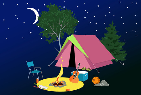 camping site: Camping site at night with a tent, campfire, tourist gear, guitar and volleyball, EPS 8 vector illustration, no transparencies, no mesh