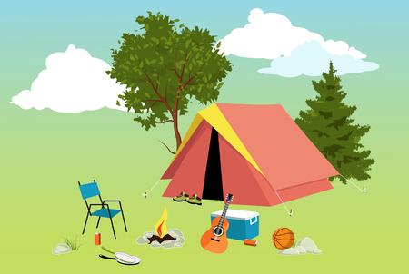 Camping site with a tent, campfire, tourist gear, guitar and volleyball, EPS 8 vector illustration, no transparencies, no mesh Illustration