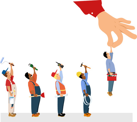 Customers hand picking a handyman from a line of house improvement specialists including a painter, a plumber, a contractor and an electrician, EPS 8 vector illustration