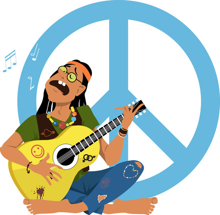 Man dressed in 1960s hippy fashion playing guitar and singing sitting in front of a peace sign, EPS 8 vector illustration