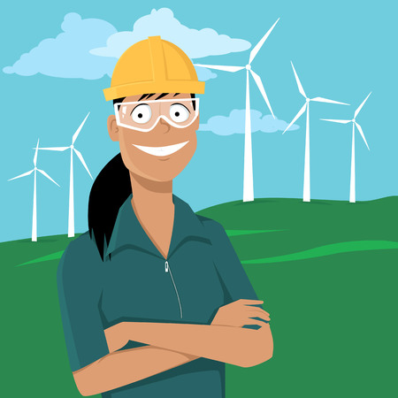 Female engineer standing in front of a landscape with wind turbine in a safety helmet and goggles, EPS 8 vector illustration