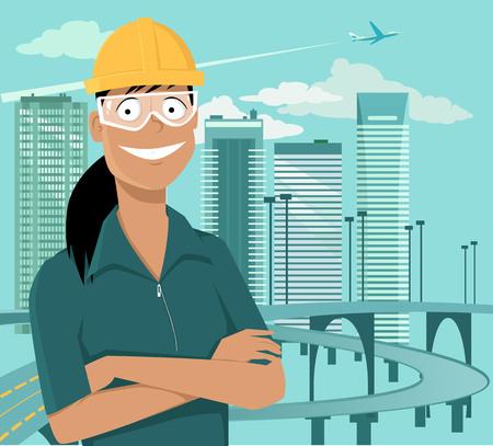 女性エンジニアまたは安全ヘルメットとゴーグル、EPS 8 ベクトル図で街並の前に立っている建設労働者  イラスト・ベクター素材