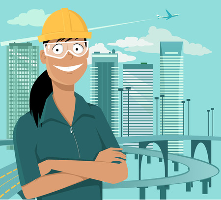 Female engineer or a construction worker standing in front of a cityscape in a safety helmet and goggles, EPS 8 vector illustration Ilustração
