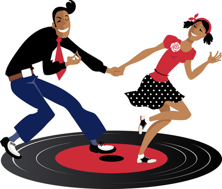 Couple dancing swing, lindy hop or rock and roll on a record, EPS 8 vector illustration Ilustrace