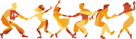 Polygonal vector silhouette of people dancing swing, lindy hop or rock and roll, EPS 8