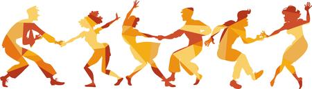 Wielobarwny wektor sylwetka ludzi tańczących huśtawka, lindy hop lub rock and rolla, EPS 8 Ilustracje wektorowe