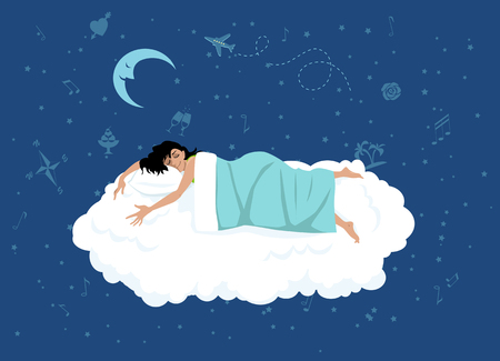 happy woman sleeping on a cloud, night sky with dreamy symbols on the background, EPS 8 vector illustration, no transparencies