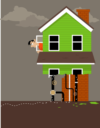 Homeowner looking out of the window of a house, half eaten by termites, EPS 8 vector illustration
