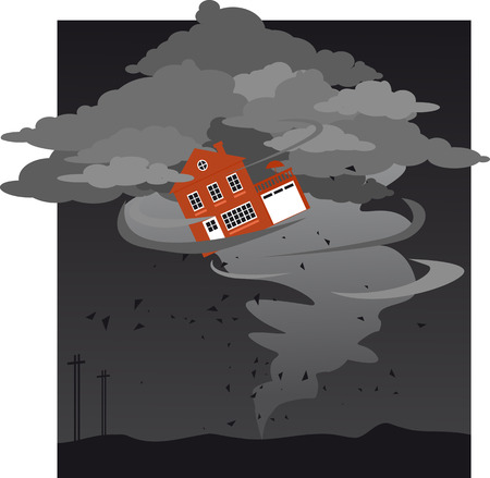 Tornado carrying a house, EPS 8 vector illustration