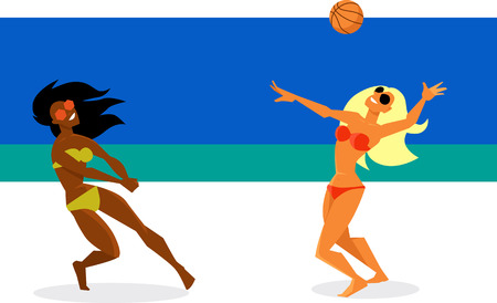 Two young women playing volleyball on the beach, EPS 8 vector illustration