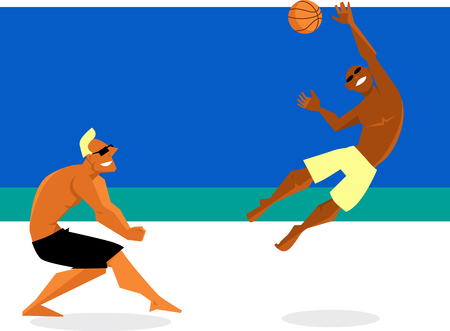 Two young men playing volleyball on the beach, EPS 8 vector illustration