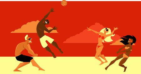 Group of diverse friends playing beach volleyball, EPS 8 vector illustration
