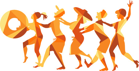 Polygonal vector illustration of a group of friends dancing conga line on a beach, EPS 8, no transparencies Illustration