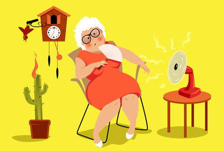 Mujer madura sentada en su casa en un día de verano muy caluroso, sufriendo un agotamiento por calor, EPS 8 ilustración vectorial, sin transparencias Ilustración de vector