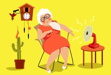 Starsza kobieta siedzi w swoim domu w bardzo upalny letni dzień, cierpiąc wyczerpania ciepła, EPS 8 ilustracji wektorowych, nie folii Ilustracje wektorowe