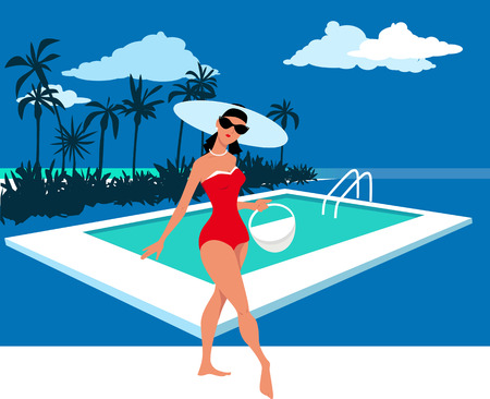 Beautiful woman in retro swimsuit posing at a pool with a beach tote, EPS 8 vector illustration Illustration