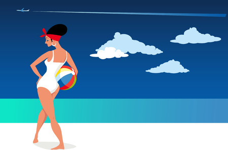 Beautiful woman in retro swimsuit posing on the beach with a beach ball, copy space left, EPS 8 vector illustration