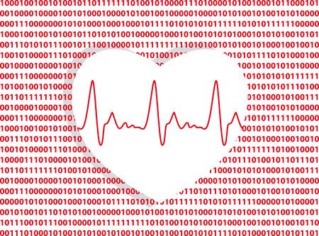 Heart symbol on a computer code background as a metaphor for digital technology in medicine, EPS 8 vector illustration Illustration