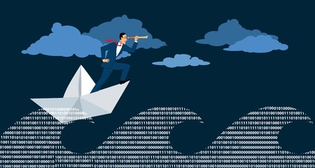 Businessman in a paper boat navigate his way in a stormy sea of computer code, EPS 8 vector illustration