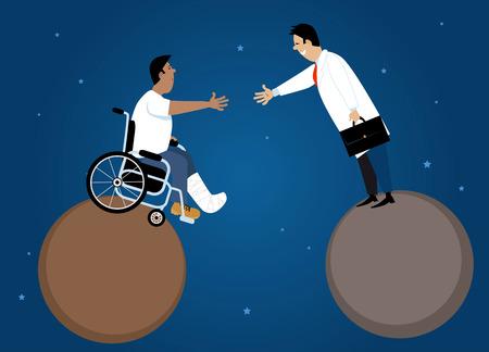의사와 두 행성, EPS 8 벡터 일러스트 사이의 간격을 가로 질러 악수하는 휠체어 환자