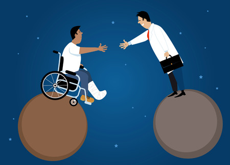 Doctor and patient in a wheelchair shaking hands across a gap between two planets, EPS 8 vector illustration