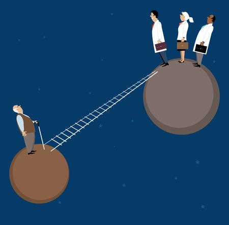 얄팍한 사다리는 두 개의 별개 행성을 연결하고, 의사는 한 명과 노인 환자에게 또 다른 서 EPS 8 벡터 일러스트 레이션을한다.