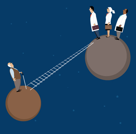 Flimsy ladder connects two separate planets, doctors stand on the one and elderly patient on another, EPS 8 vector illustration