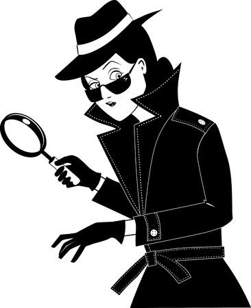 Agent secret féminin ou détective privé avec une loupe, EPS 8 silhouette vectorielle sans objets blancs, noir seulement