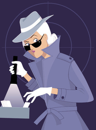 Female secret agent or private detective searching a file cabinet, EPS 8 vector illustration Stok Fotoğraf - 80388834