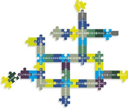 Blockchain concept illustration, vector illustration, no transparencies Ilustracja