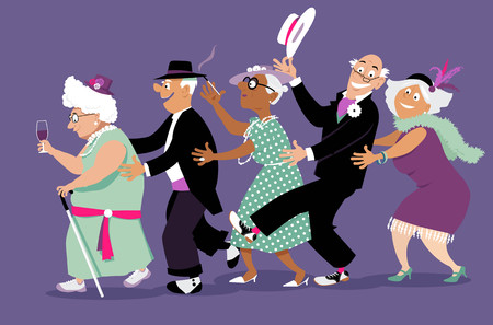 Group of active seniors dressed in retro fashion dancing conga line, vector illustration